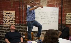 Dig Boston news editor Chris Faraone at a BINJ (Boston Institute for Nonprofit Journalism) meeting.