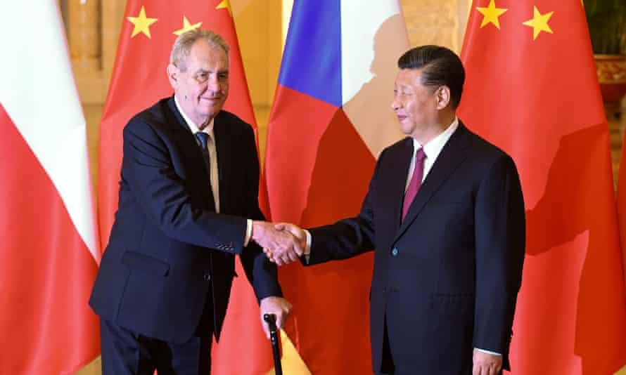 Czech president Miloš Zeman meets China's president Xi Jinping in Beijing in April last year.