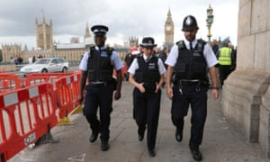 Metropolitan police commissioner Cressida Dick (centre) joins officers on patrol on Westminster Bridge, the scene of a deadly terrorist attack in March.