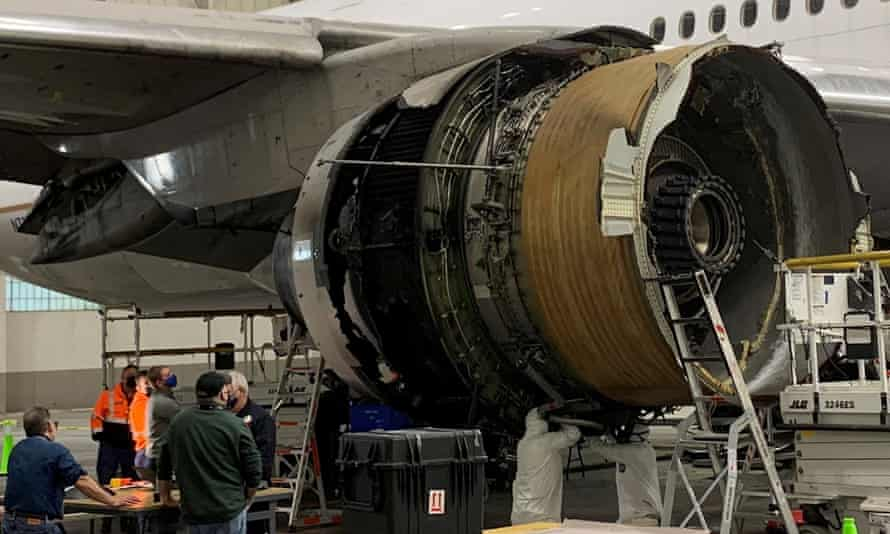 The damaged starboard engine of United Airlines flight 328 after it caught fire over Denver on Saturday.