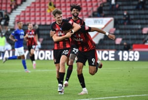 Bournemouth's Dominic Solanke celebrates scoring their second goal.