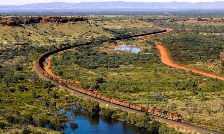 A train loaded with iron ore from a BHP mine in the Pilbara region of Western Australia.