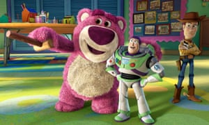 Villain of the piece … Lots-O-Huggin' Bear with Buzz Lightyear and Woody in Toy Story 3