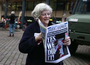 The Brexit party MEP Ann Widdecombe reads the Daily Express