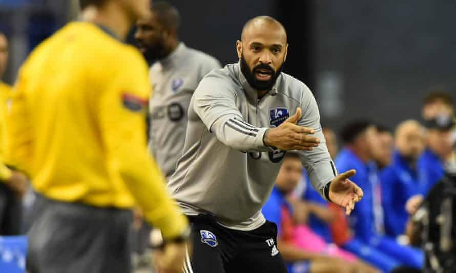 Thierry Henry on the touchline during his Montreal team's game against CD Olimpia last March.