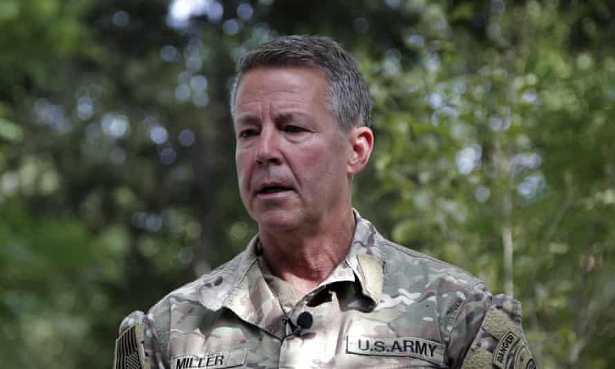 Gen Austin S Miller, the U.S.'s top general in Afghanistan, speaks to journalists at the Resolute Support headquarters, in Kabul, Afghanistan.