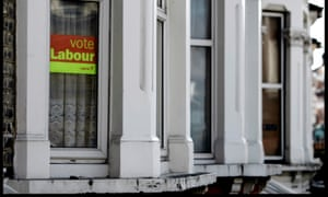 A Vote Labour poster in the window of a house in Hammersmith, London.
