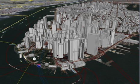 New York City mapped in an early version of Google Earth from 2006