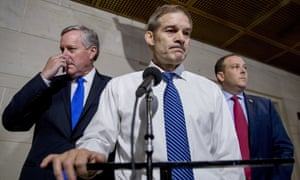 Representatives Mark Meadows, Jim Jordan, and Lee Zeldin outside a closed door meeting on Capitol Hill on Tuesday.