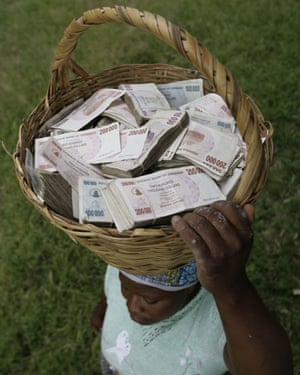 A Zimbabwean lady with a basketful of cash