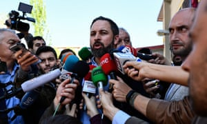 Spanish far-right party VOX leader and candidate for prime minister Santiago Abascal speaks to the press outside a polling station in Madrid during general elections in Spain on April 28, 2019.