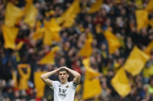 Wolverhampton Wanderers' Conor Coady reacts after the match