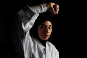 Zeynab Alshelh, 2017 Australian National Karate Champion (under 55kg) poses during a sparring session at Bankstown in Sydney, Australia