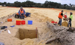 Archaeologists and traditional owners dig at the site of Fiona Stanley hospital in Perth in 2008.