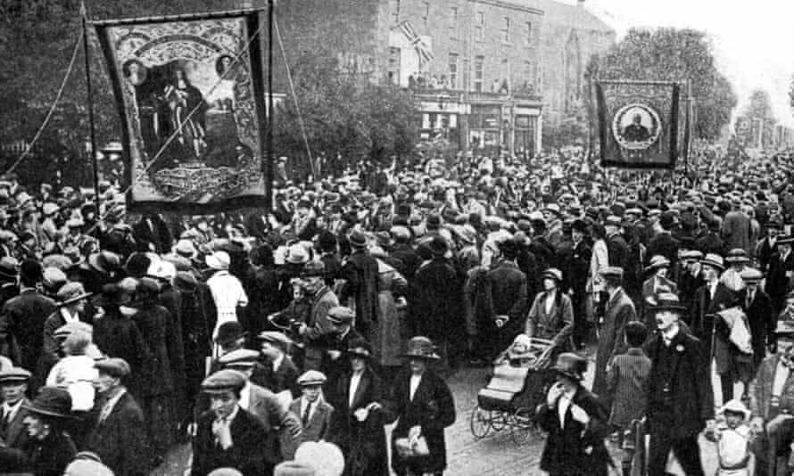 A procession of the Orangemen in Belfast, Northern Ireland, 1922