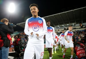 Sancho comes out for the warm up before England's match in Sofia