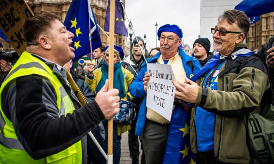 Pro and anti-Brexit protesters clash outside parliament.