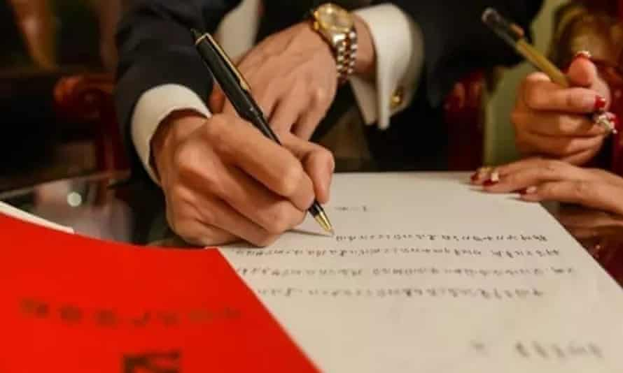 The couple write out chunks of the 11-chapter constitution