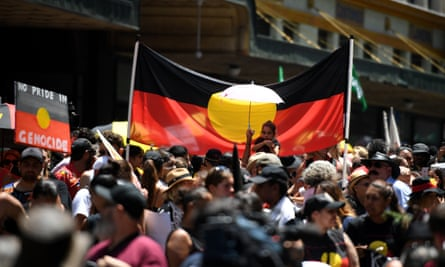 Protesters at an Invasion Day rally in Sydney last year