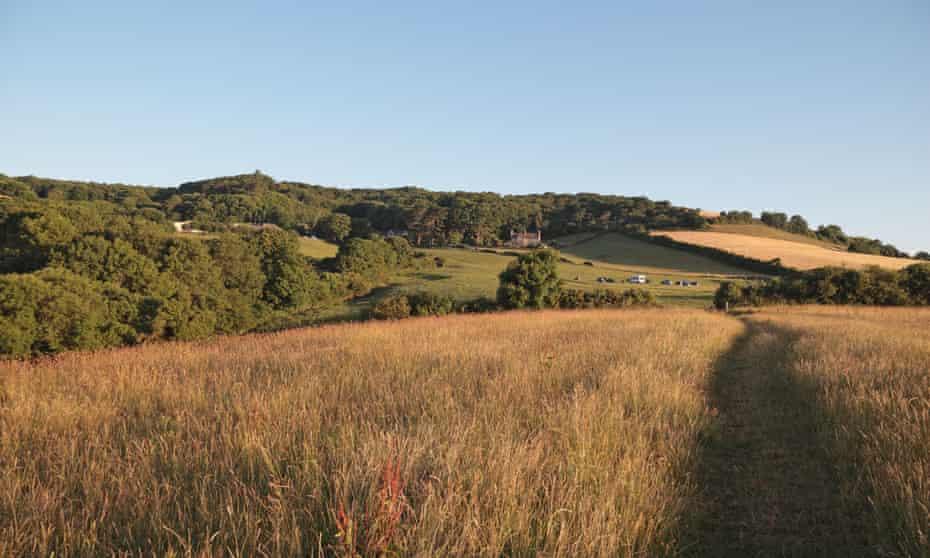 Early morning view across fields near Downhouse Farm, Dorset, UK.