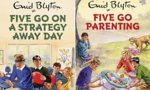 The covers of Five Go On a Strategy Away Day and Five Go Parenting.