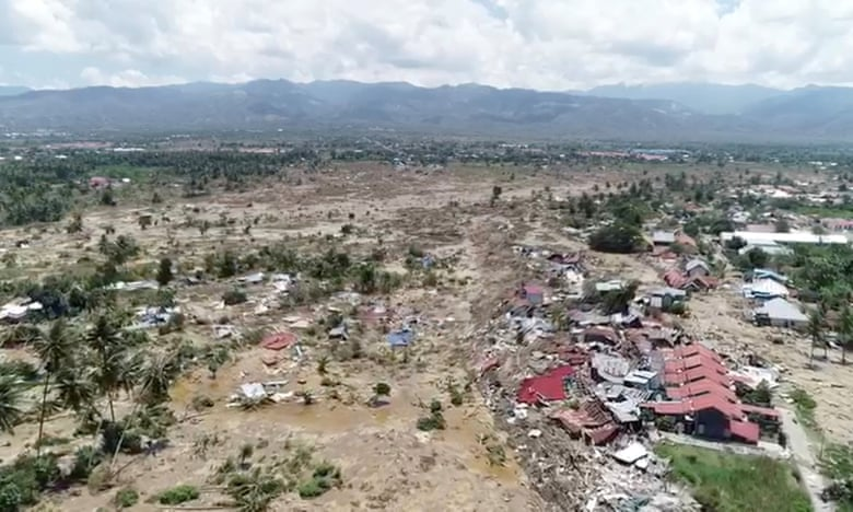 Footage taken from a drone on Sunday shows the extent of the damage wrought in Palu by the earthquake and tsunami. Photograph: Social Media/Reuters