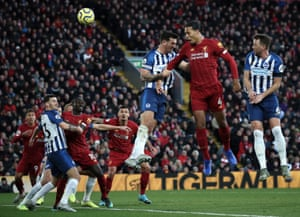 Virgil van Dijk scores the first of his two goals against Brighton at Anfield. The 2-1 win sent Liverpool 11 points clear at the top.