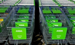 Lines of Asda trolleys