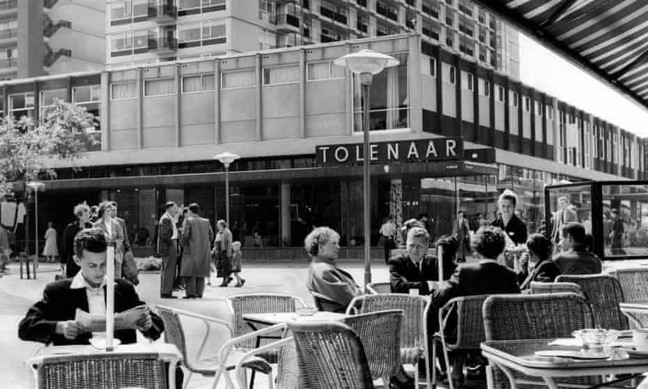 People relax on the Lijnbaan