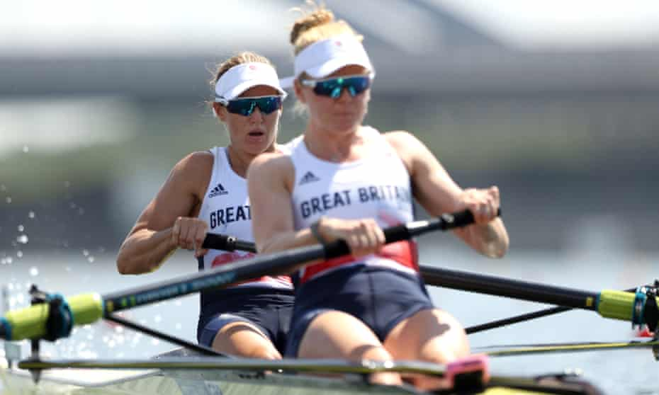 Helen Glover (left) and Polly Swann on their way to qualifying for the women's pairs semi-finals.