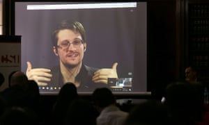 Edward Snowden in a video link last November at the University of Buenos Aires law school