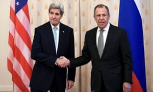John Kerry and Sergei Lavrov shake hands before a bilateral meeting in Moscow on Tuesday.