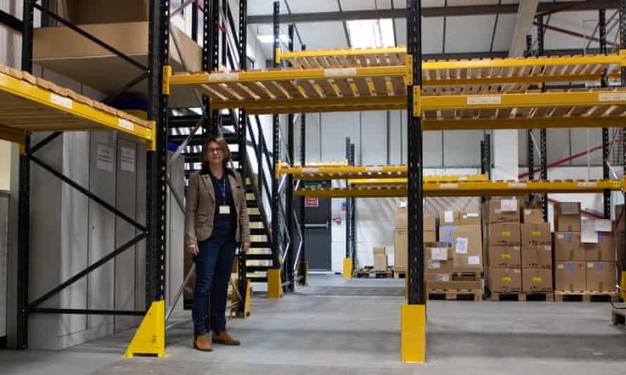 Mediwin's finance director, Lisa Cooke, in the near-empty warehouse in Littlehampton