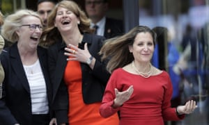 Canada's foreign minister Chrystia Freeland, right, in Berlin.