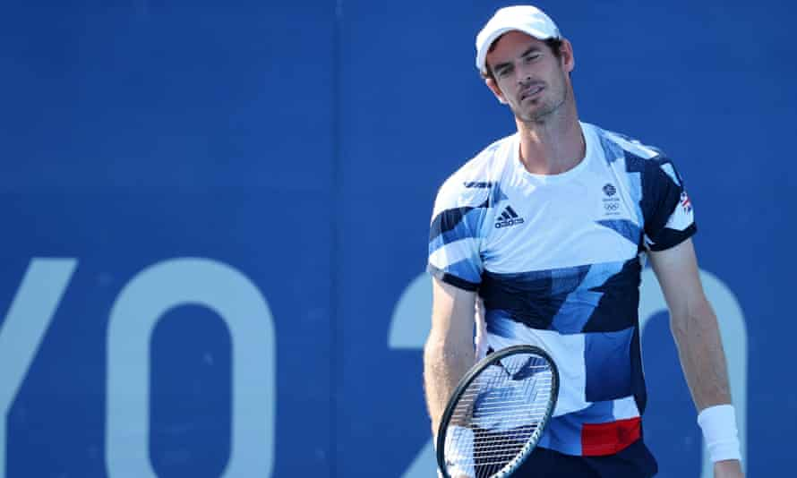 Andy Murray looks dejected during his and Joe Salisbury's defeat in their men's doubles quarter-final.