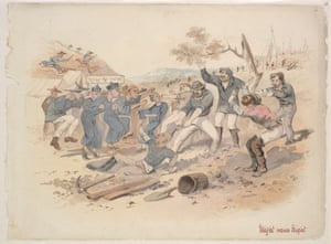 An of-the-era white interpretation of what happened at the Burrangong goldfields, Might versus Right by Samuel Thomas Gill, c.1862-1863