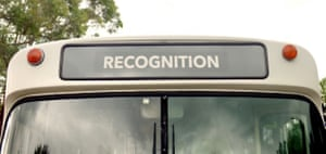 A screengrab of the Recognition bus from the Recognise campaign's advertisement, 'Let's take the next step together'.