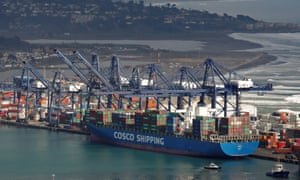 A Cosco container ship in port
