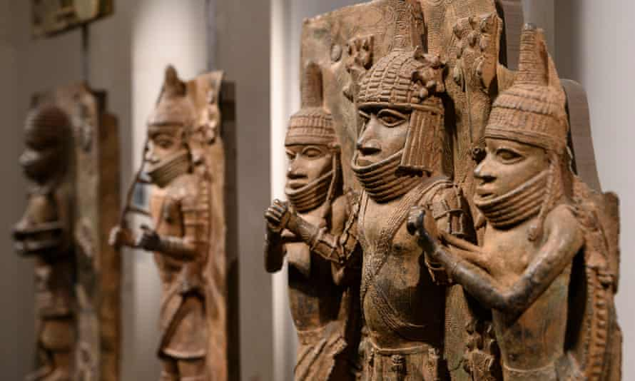 Benin bronzes on display at the British Museum in London