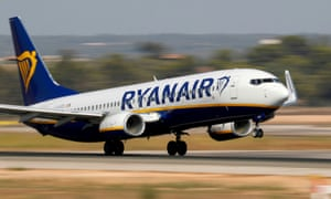 A Ryanair Boeing 737 airplane takes off from the airport in Palma de Mallorca.