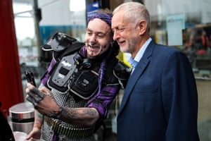 The Labour leader, Jeremy Corbyn, poses for a picture at Lime Street station in Liverpool, UK