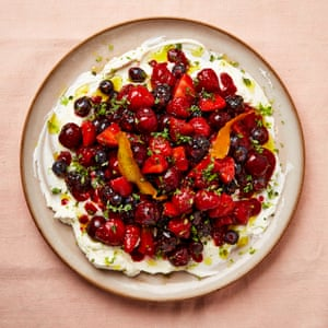 Yotam Ottolenghi's berry platter with sheep's labneh and orange oil.