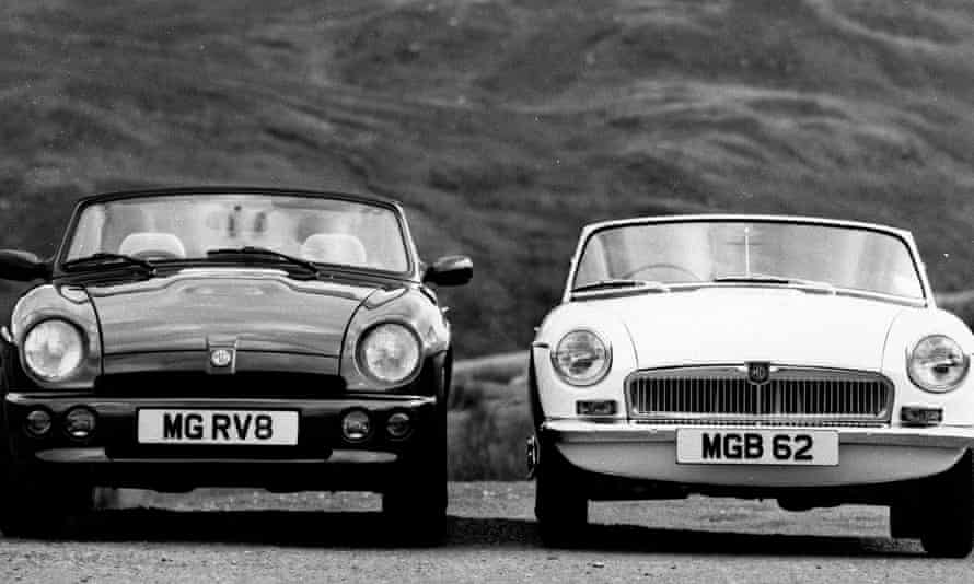 The Rover MG RV8 standing next to a 1962 MGB.