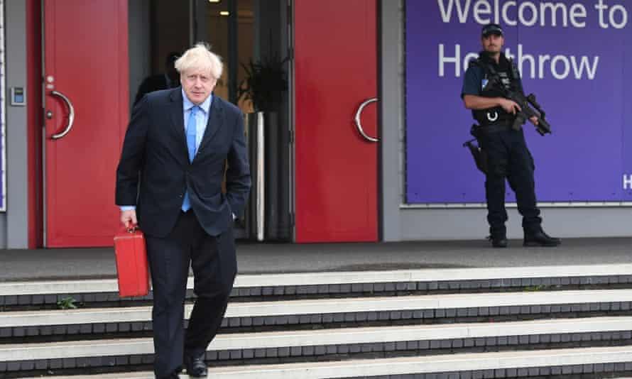 Boris Johnson at Heathrow airport last September