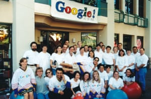 A team-photo of members of the growing Google team in Palo Alto, California, before the move to Mountain View.