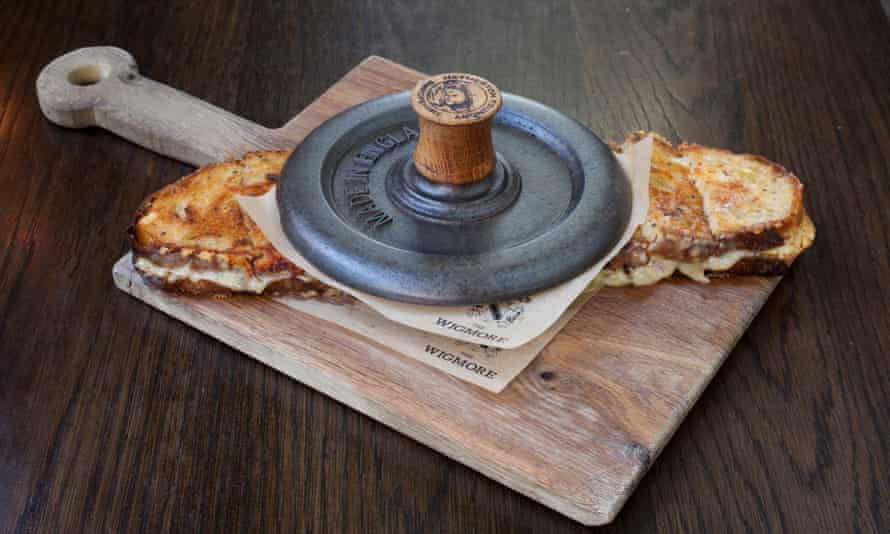 'Inside is a mixture of Montgomery cheddar, Ogleshield and, for stretchiness, raclette': cheese toastie.