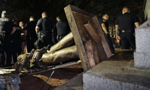 The Confederate statue known as Silent Sam was toppled by protesters at the University of North Carolina.