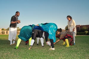 Once a year the athletes of the AMAR all-female rugby team play a demonstration match in traditional dresses.
