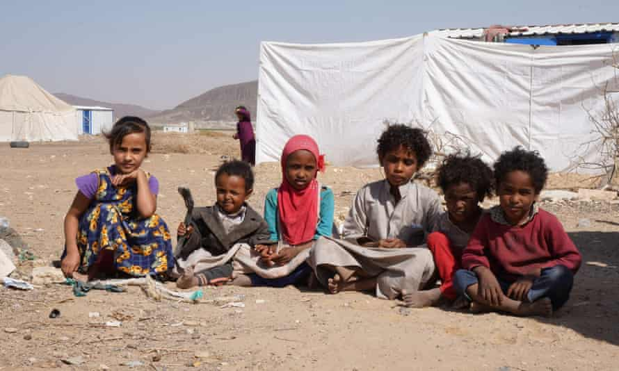 Yemeni children at a refugee camp on the outskirts of the northern city of Marib.