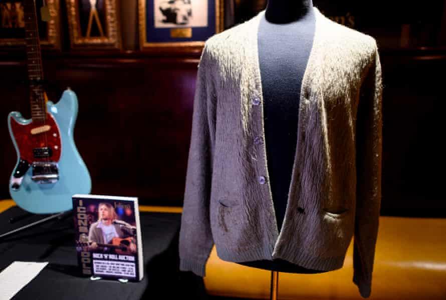 Kurt Cobain's cardigan on display at the Hard Rock Cafe in New York.